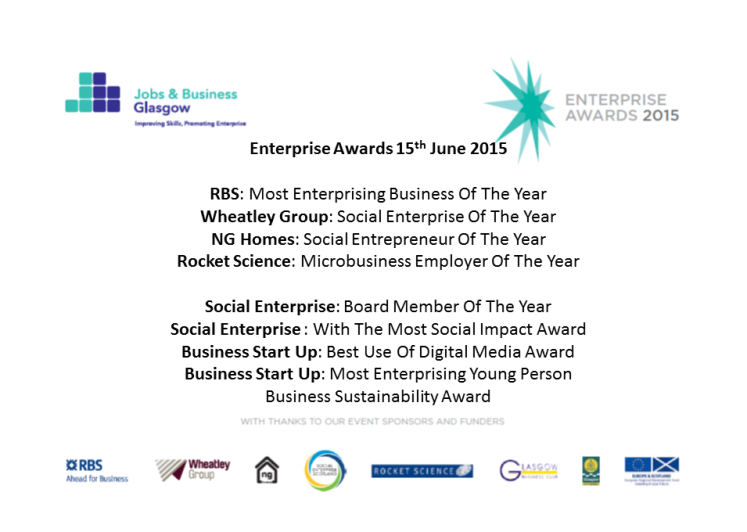 Jobs and Business Glasgow Enterprise Awards 2015